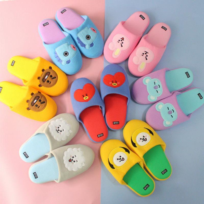 dc6d41d57 2019 KPOP BTS Bangtan Boys BT21 TATA COOKY Winter Home Slippers Shoes  Character Slipper Cartoon Cute Warm Flip Flop KPOP BTS Bangtan Boys From  App003