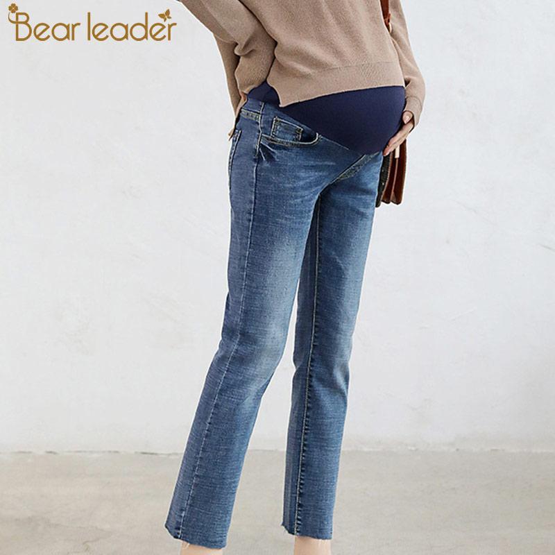 buy popular 167c4 dbe10 I jeans premaman del capo dell orso per i pantaloni delle donne incinte i  jeans blu caldi di inverno di gravidanza adatti i vestiti del bottone di ...