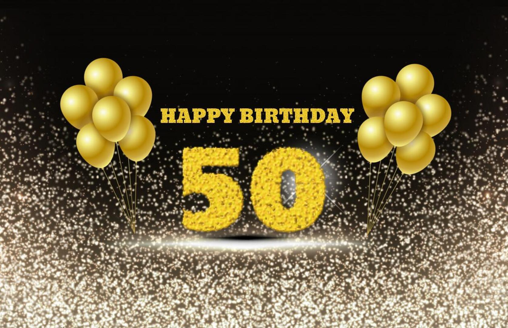 2019 50th Birthday Backdrop Black Golden Balloon Photo Photography