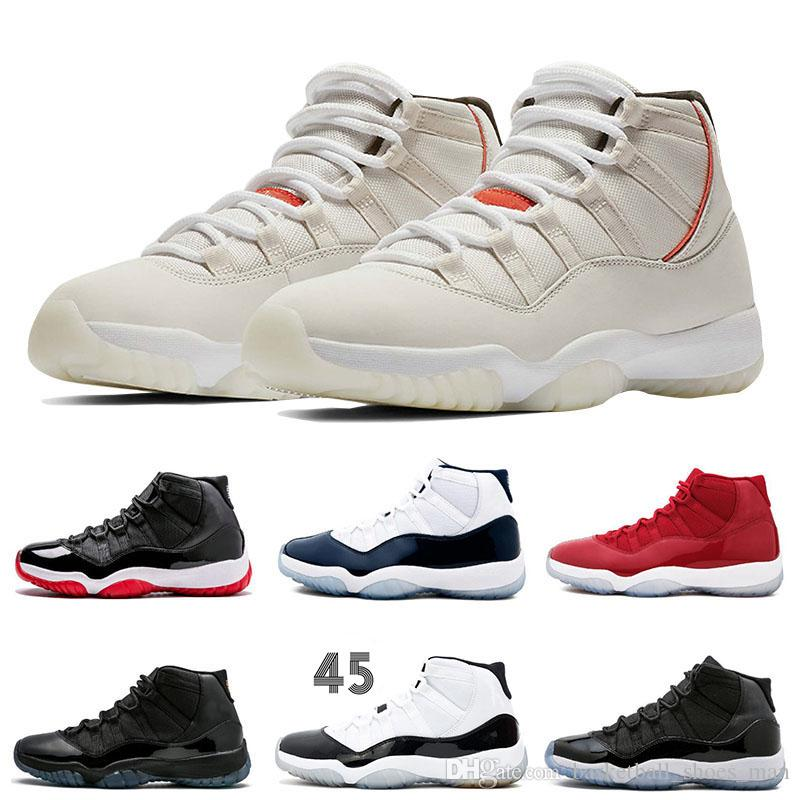 Platinum Tint 11 Concord 45 Women Men 11s Basketball Shoes Fashion Win Like  96 Prom Night Gym Red Bred Mens Brand Designer Sneakers UK 2019 From ... 070fc565a2