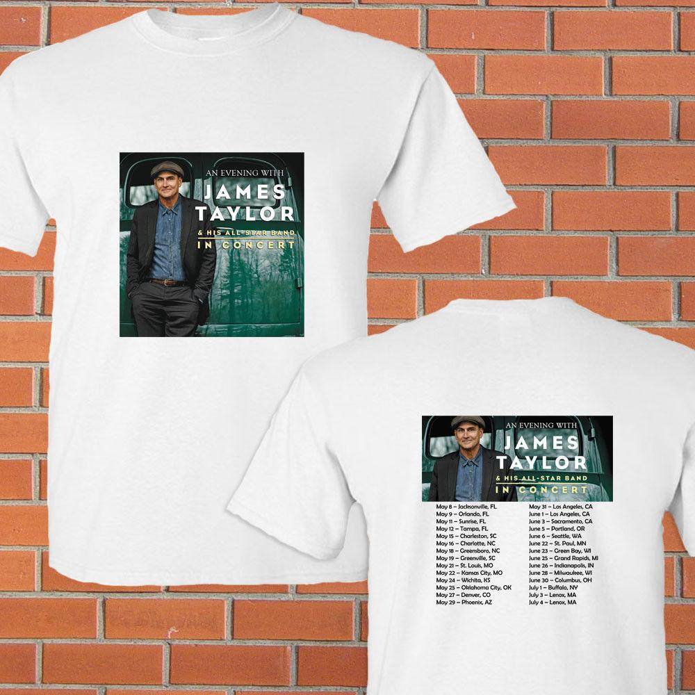 An Evening With James Taylor Tour Concert 2018 White Tee Shirt S 2xl