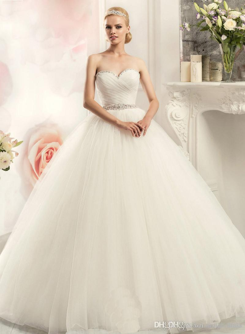 Discount Simple Style A Line Cheap Wedding Dresses Sweetheart Beaded