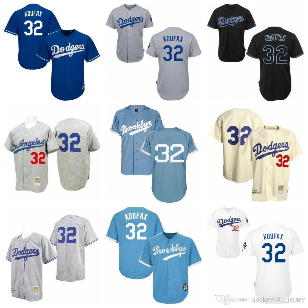 brand new a122a 6eef1 Dodgers Sandy Koufax Jersey Men Los Angeles #32 Mitchell And Ness Throwback  Baseball Jerseys Stitched