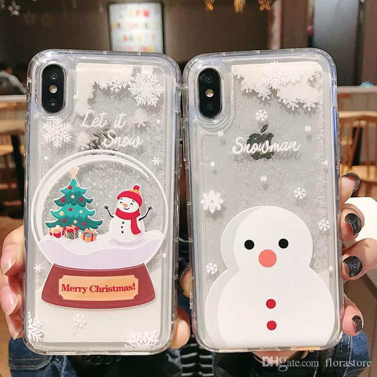 Snow Santa Phone Cover Cute Quickstand Merry Christmas Glitter Flowing Phone Cases for iPhone 7 8 XR XS MAX
