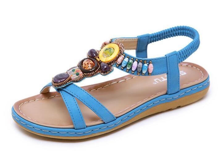 2019 Con Comodidad Zapatos Bohemio Retro De Frontera Sandalias La Tamaño Étnicas Cuentas Mujer Más Playa Nuevas Cruzan Y6fgyb7