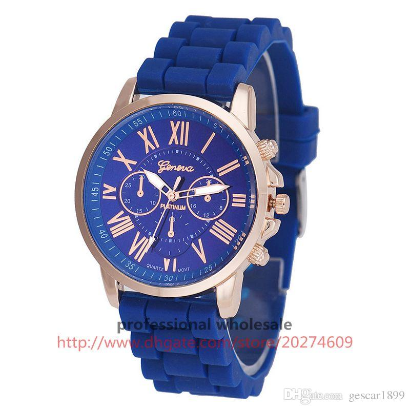 Wholesale Cheap China Fashion Geneva Watch Silicone Rubber Band Watch for Male Female Spot Wrist Watch