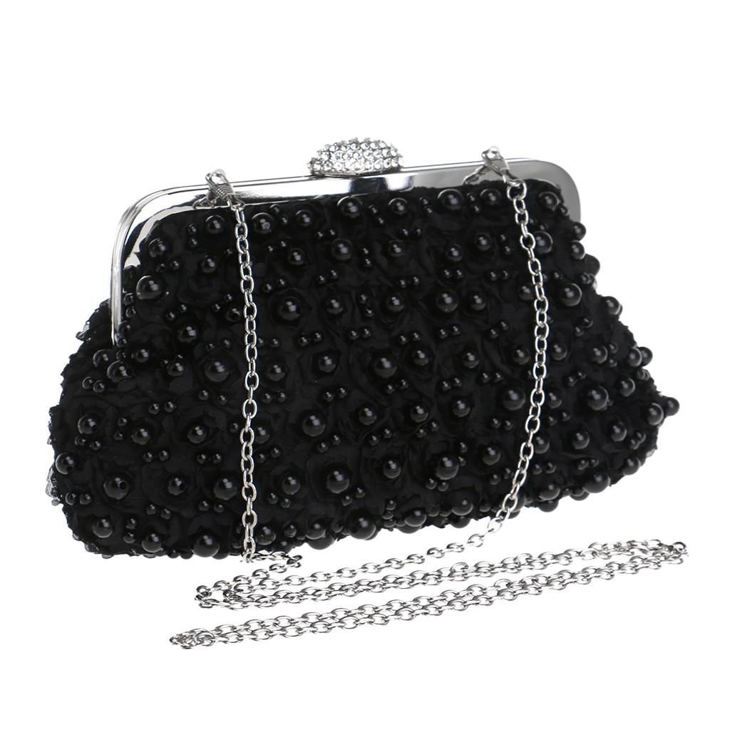 Women Evening Clutches Bag Pearl Evening Bag With Chain Handbag Women's Party Clutch Purse Shoulder Cross Body Wedding#H30