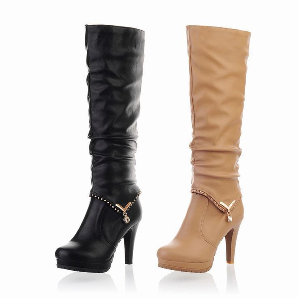 3e86b99fb27 2018 Sexy Knee High Women Boots Thin High Heel Round Toe Platform Boots  Women Two Ways Wear PU Leather Ladies Shoes Size 34 43 Boots Shoes Ankle  Boots For ...