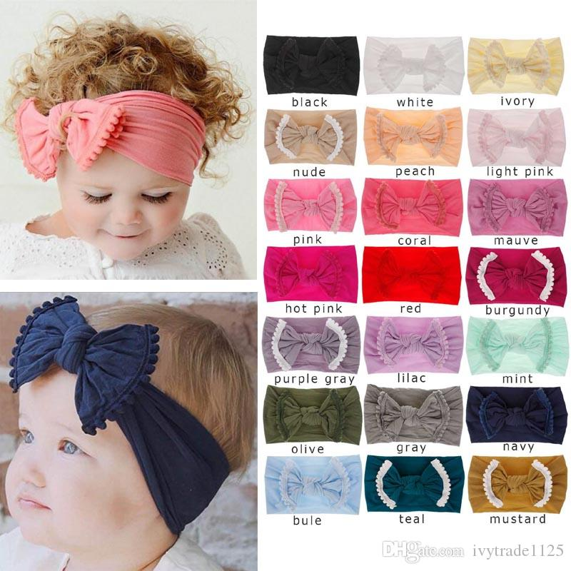 21 Colors Baby Girl Lace Nylon Headband fashion soft Candy Color Bohemia Bow Girl Infant Hair Accessories Headband