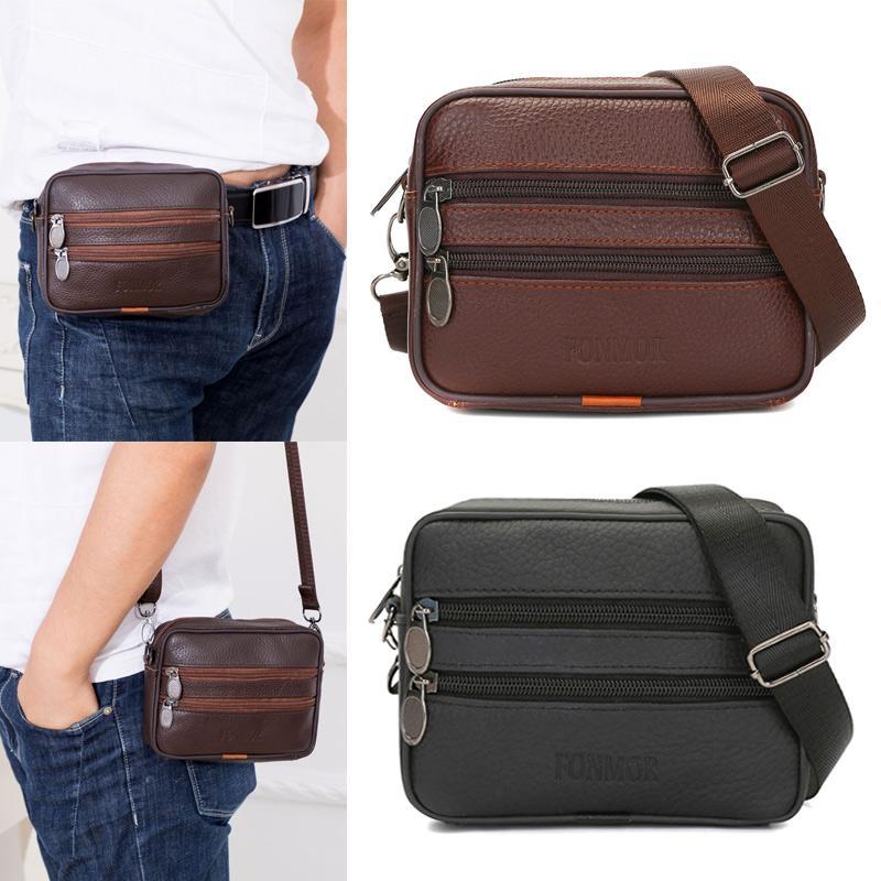 420e1719fd0e Men Leather Shoulder Bag Male Waist Bags Travel Business Crossbody ...