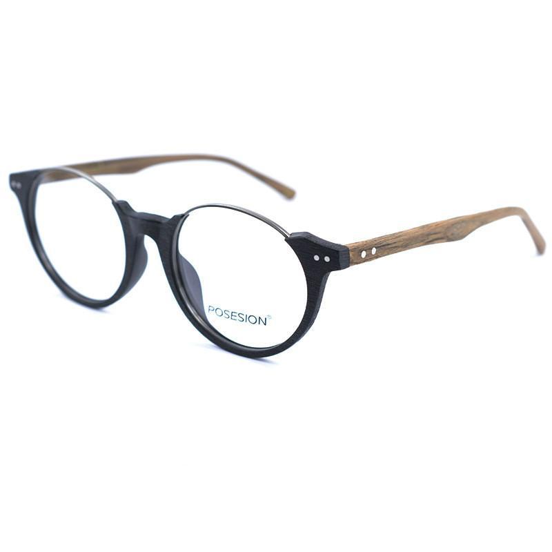 fc8efbac8d3 Factory Direct Handmade Wood Grain Glasses Round Half Frame Glasses ...