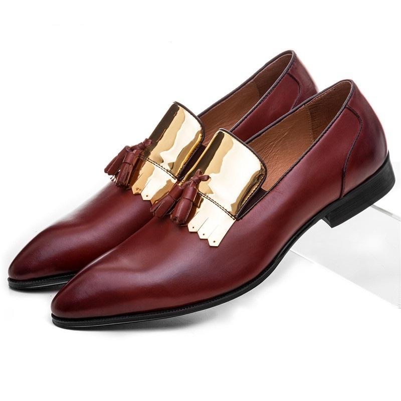 de40f376746 Compre Moda Negro   Vino Rojo Holgazán Zapatos De Boda Para Hombre Zapatos  De Vestir De Cuero Genuino Zapatos Formales Para Hombre Con Borla A  122.59  Del ...