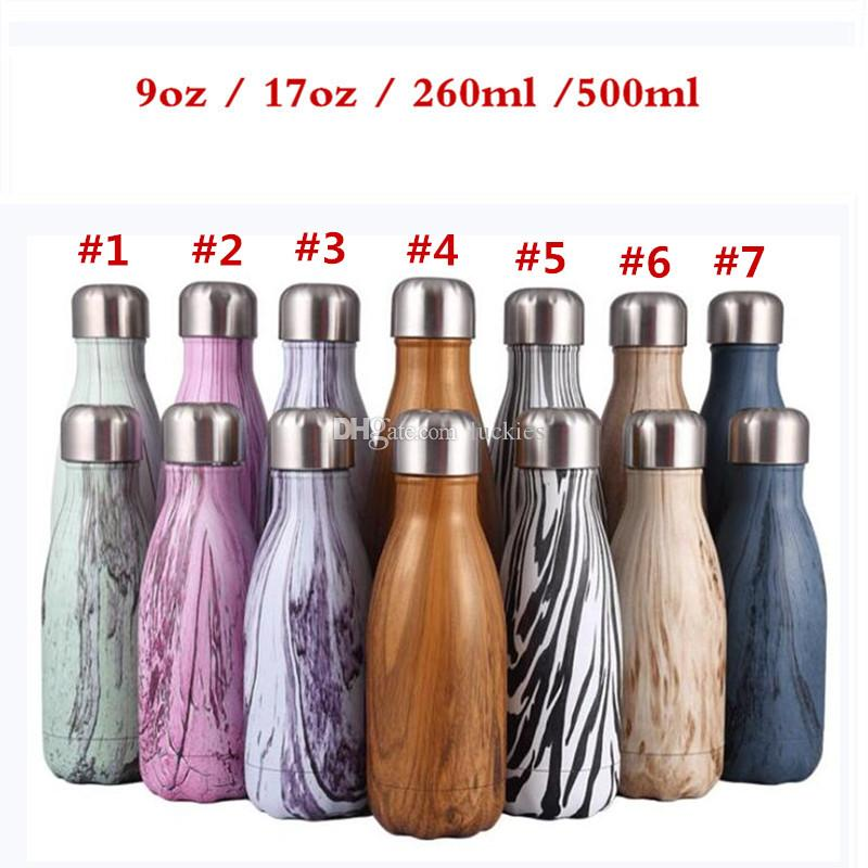 304 Stainless Steel Cola Shape Bottle Vacuum Insulated Simple Modern Wave  Water Bottle Cup Outdoor Narrow Mouth Sports Water Bottle 9oz 17oz