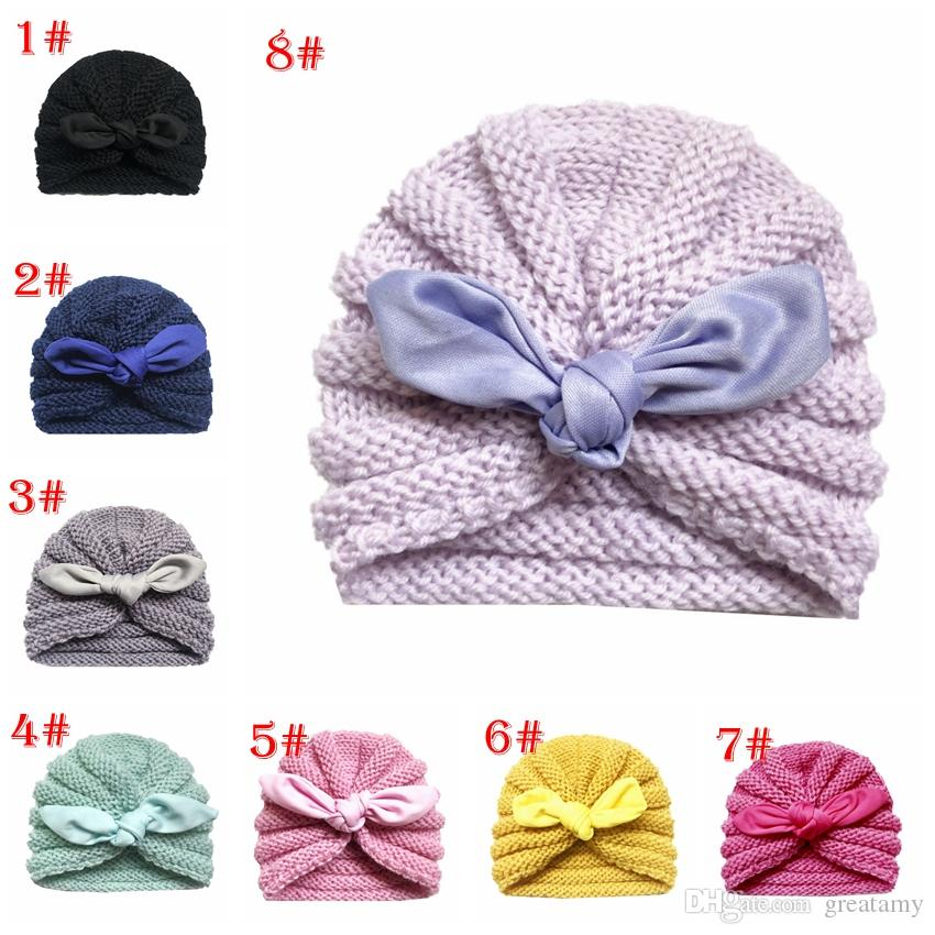 ae1ea636fa3 2019 Baby Cap Autumn Winter New Knit Hat Children S Rabbit Ears Wool Hat  Bow Kids Hats From Greatamy