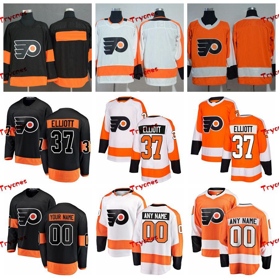 ff216258715 2019 2019 Brian Elliott Philadelphia Flyers Stitched Jerseys Customize Home  New Alternate Black Shirts #37 Brian Elliott Hockey Jerseys S XXXL From  Tryones, ...