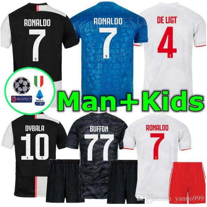 19 20 Juventus Men and Kids Ronaldo DYBALA PJANIC DE LIGT soccer jersey 2019 2020 juventus Italy BUFFON JUVE sports football shirt