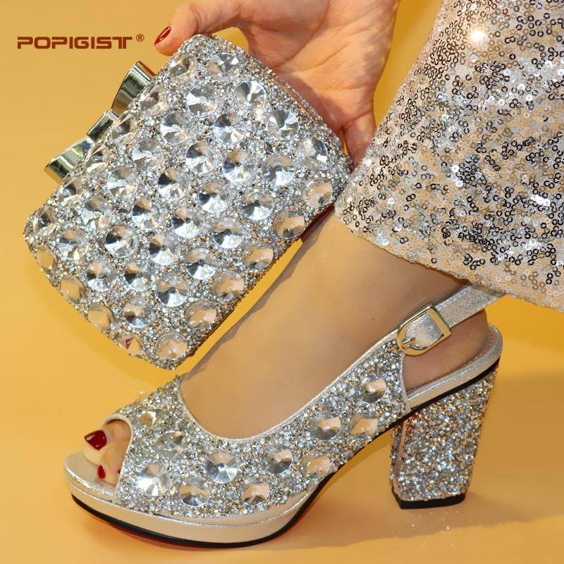 5ecb69aacc1 Platform Shoes And Bags Matching Set 2019 Shining Stones Big Pumps  Comfortable Evening Clutch Cross Body HandBag Crystal Decoration Footwear  Bass Shoes From ...