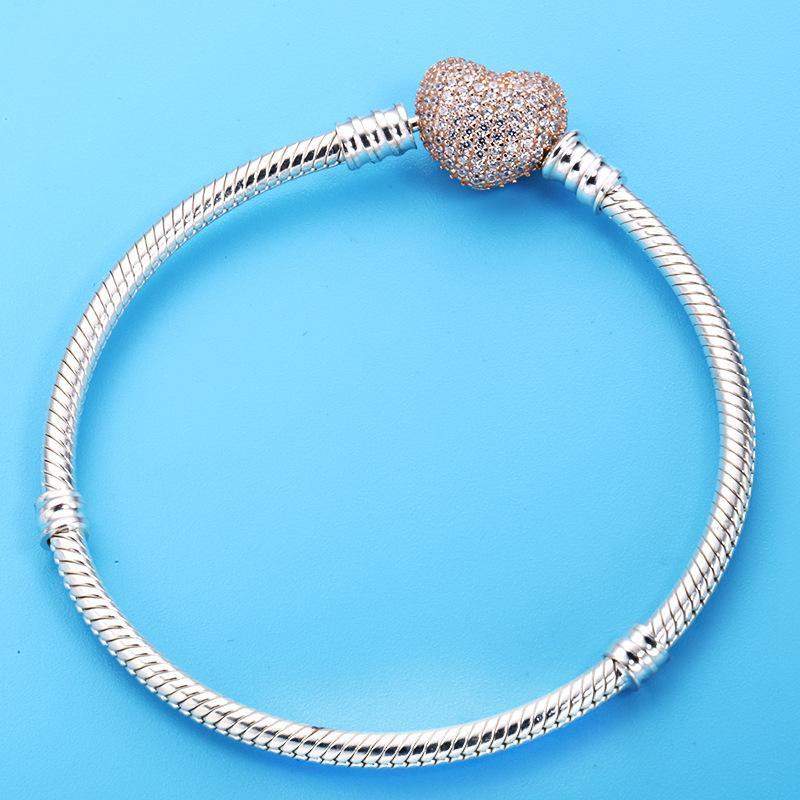 925 Sterling Silver Bracelet Rose Gold Moments Pave Heart Clasp With Crystal Bangle Fit Women Bead Charm DIY Jewelry