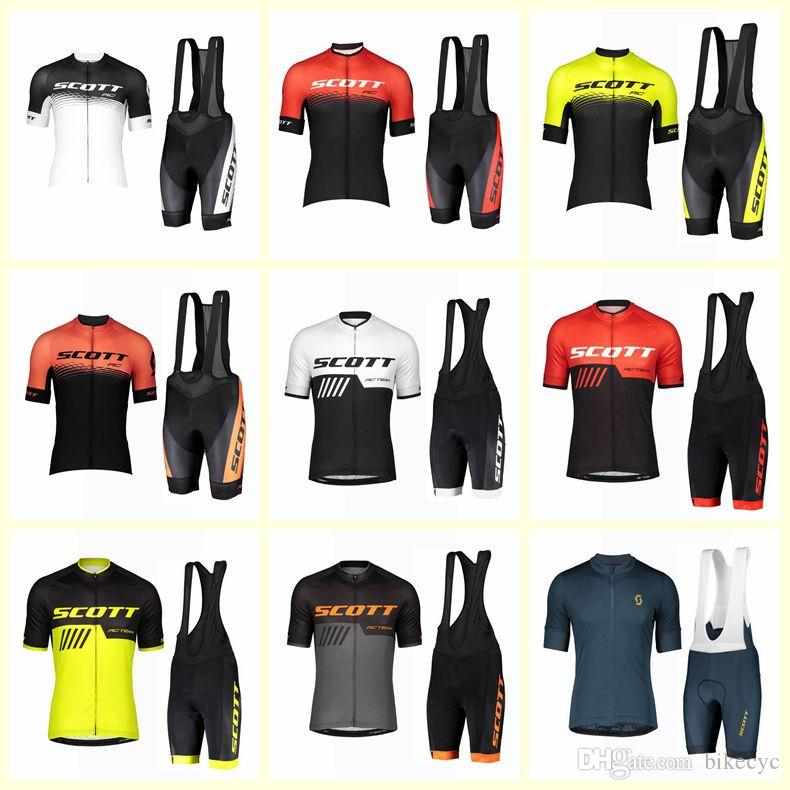 SCOTT team Cycling Short Sleeves jersey bib shorts sets Men Summer Road Bike Wear Quick Dry MTB Racing clothing Ropa Ciclismo U91919