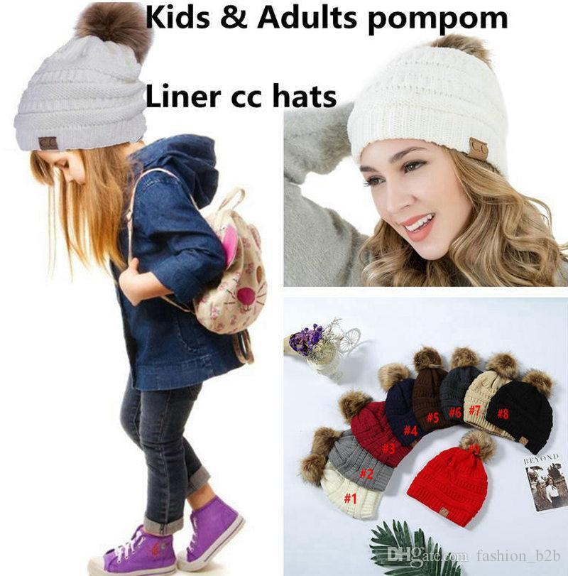 Kids Adults CC Beanie Knitted Pom Pom Hats Winter Woolen Cap Pompom Beanies  Fashion Boys Girls Crochet Caps Beanie Kids Skull Caps From Fashion b2b df44327dcdf1
