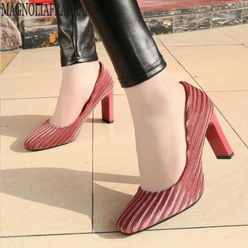 71017bbbc Compre Vestido 2019 Primavera Novos Sapatos Das Mulheres Boca Rasa Moda  Única Sapatos Coreano Versão Do Selvagem De Salto Alto De Camurça Conforto  Mm343 De ...