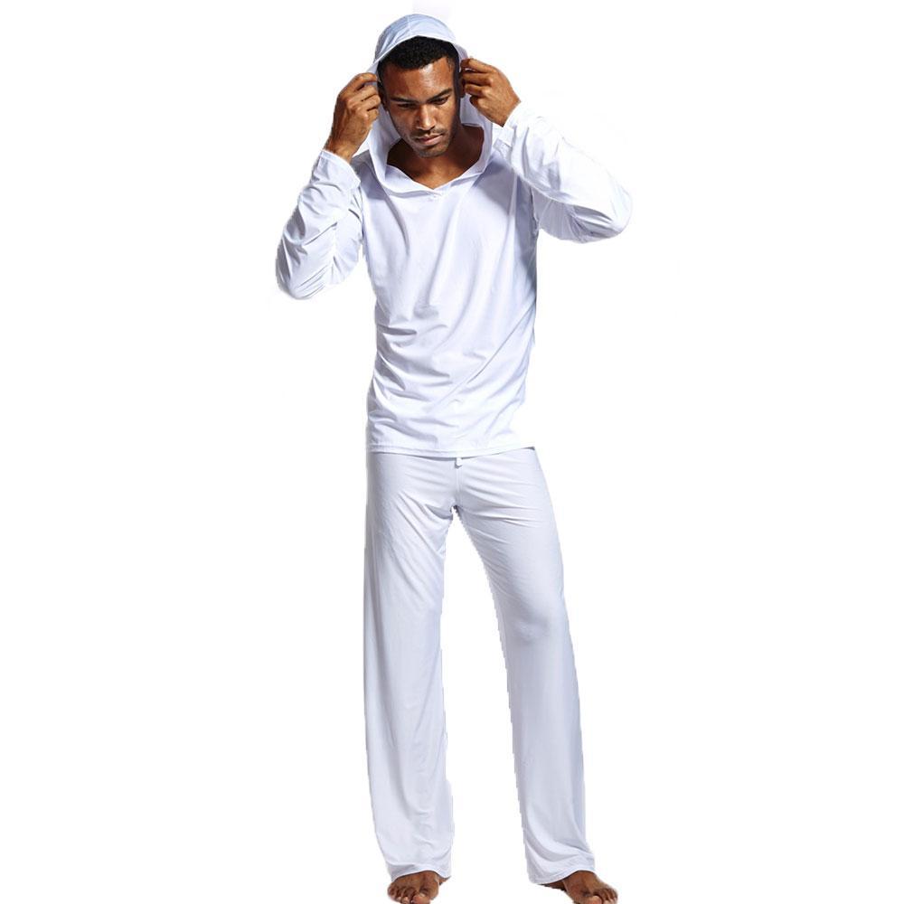9bb50b2c7 Compre Homens Sexy Pijamas Set Yoga Wear Pijamas Sleepwear Manga Comprida  Com Capuz Top Com Calças De Pijama De E51m