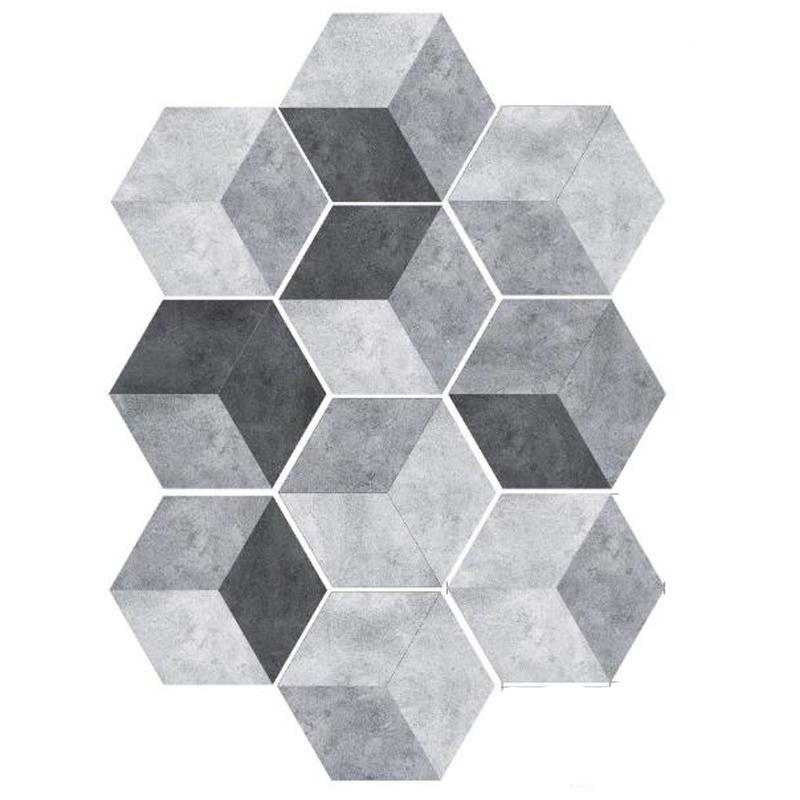 Black & Grey Hexagon Wall Sticker DIY Decor Floor Sticker Bathroom Toilet Kitchen Waterproof Self adhesive Tile Ground Stickers