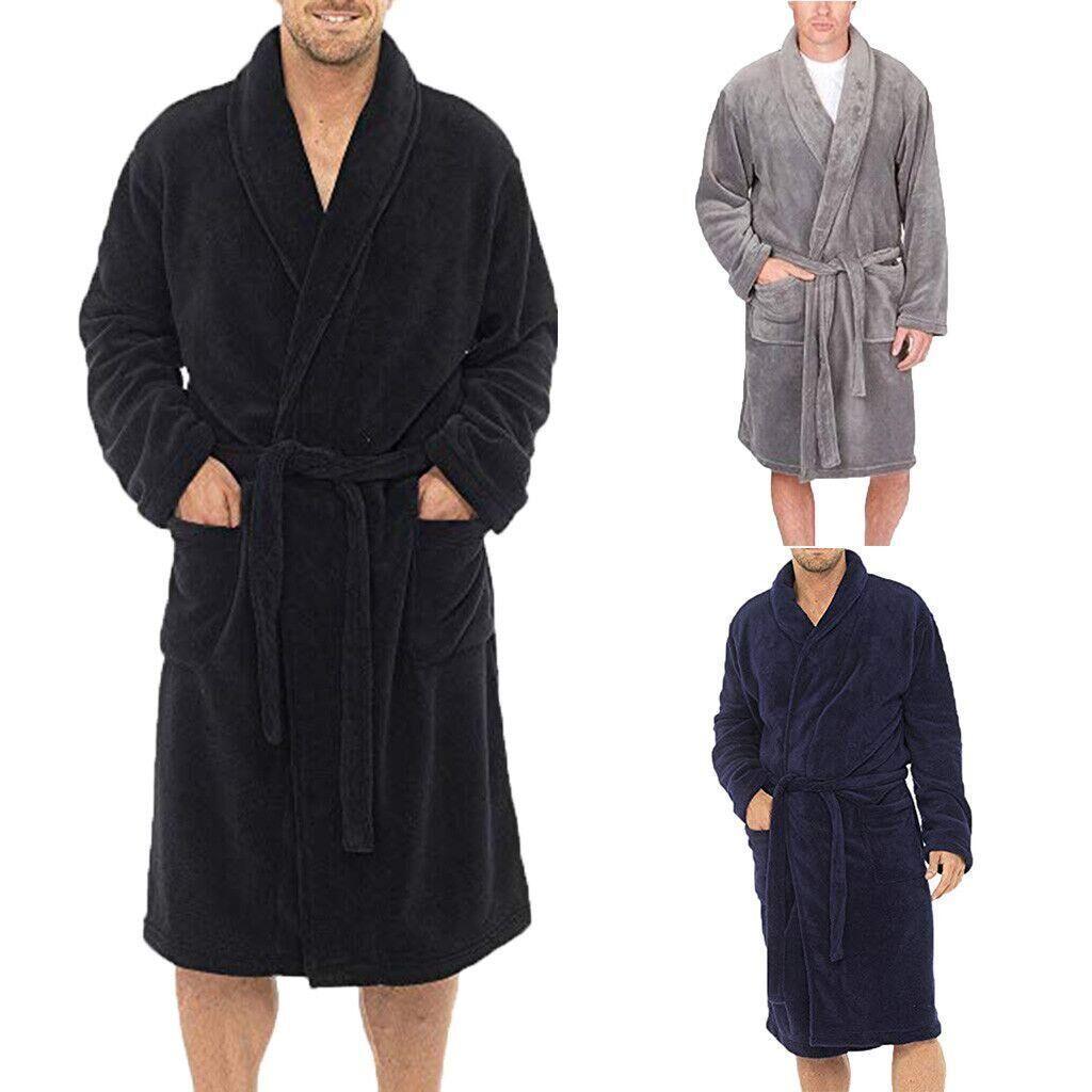 2019 Men Robes 2019 New Men Long Sleepwear Robes Shawl Collar Sashes Fleece  Bathrobe Spa Gown Kimono Pajamas From Cutelove66 fd6f6b357