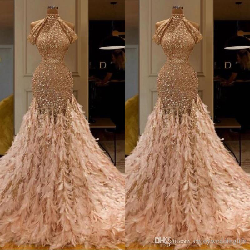 New Arrival Champagne Middle East Prom Dress 2020 High Neck Feathers Glitter Mermaid Evening Dress Arabic vestidos de fiesta de noche