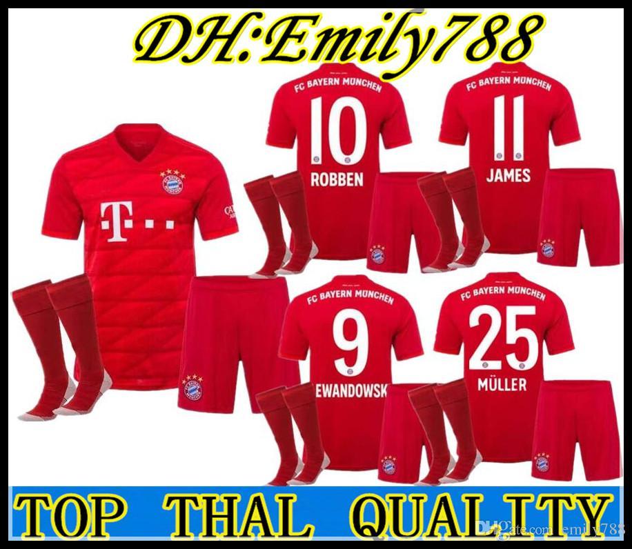 new concept 4ff56 32afc adult kit 19 20 Bayern Munich soccer Jersey home LEWANDOWSKI MULLER 2019  2020 champions league HUMMELS TOLISSO JAMES men set football shirts