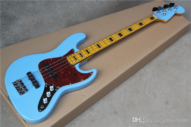 Hot sale factory custom 4 strings Blue body Electric Bass Guitar with Red Pearl Pickguard,Chrome Hardware,can be customized