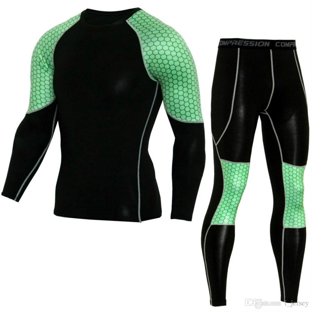 3c76d84e00 Abbigliamento da corsa Compression per uomo sportivo Tute da allenamento  Running Tights Leggings Set Uomo T-shirt lunga Pantaloni Gym Sportwear # ...