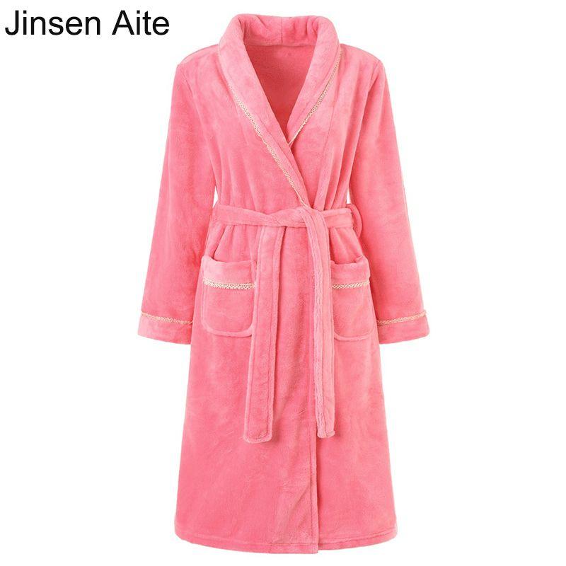2019 Jinsen Aite New Flannel Bathrobe For Women Soft Autumn Winter Thick  Long Sleeved Dress Comfortable Warm Robes Sleepwear JS704 From Yuhuicuo 8de9ecd14