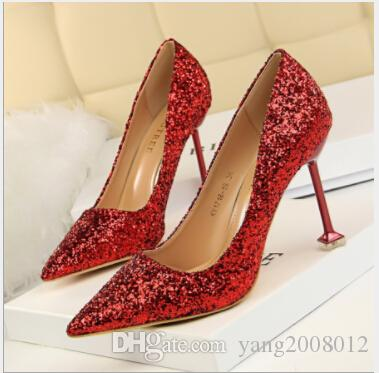 High Heeled Shoes High Heel With Shallow Pointed Mouth Shining Sequins Sexy  Show Thin Nightclub Single Shoes Brown Shoes Strappy Heels From  Yang2008012 6e7486bc283e
