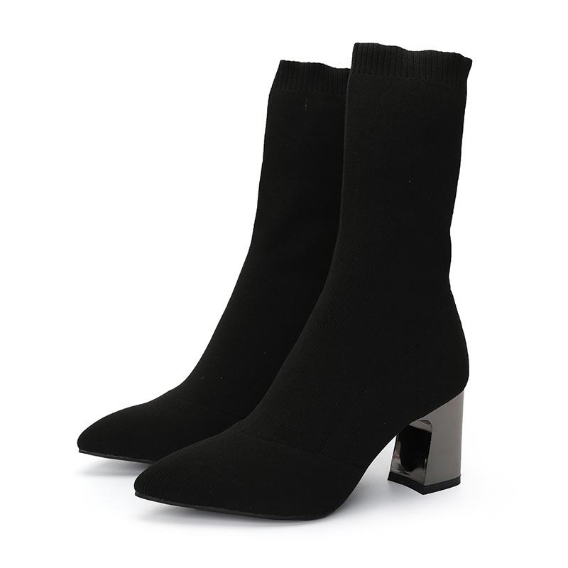 2019 New Woolen Socks Boots Girls Mid Calf Warm Plush Botas Mujer Block High  Heels Stretch Tight Slim Martin Booties Winter Shoe Rain Boots Mens Shoes  From ... 914069b131fc
