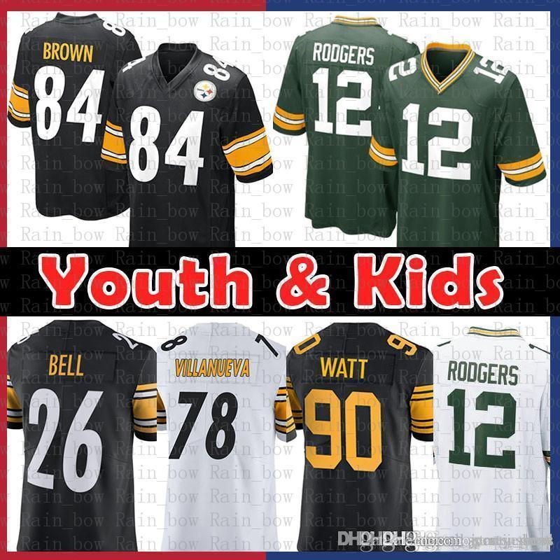 low priced 7f666 5d145 good Youth Kids Pittsburgh 84 Steelers Antonio Brown 78 Alejandro  Villanueva Green Jersey Bays Packers 12 Aaron Rodgers 90 T.J. Watt 26 Bell