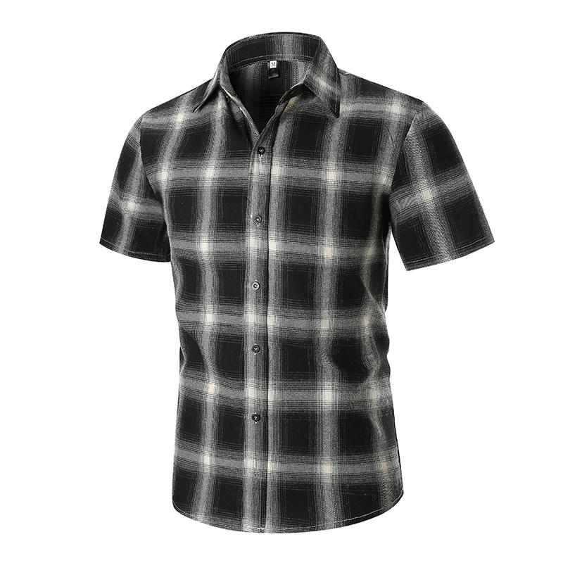 Casual Shirts 2019 New Summer Fashion Chemise Homme Mens Checkered Shirts Short Sleeve Shirt Men Blouse Red And Black Plaid Shirt Men Shirts