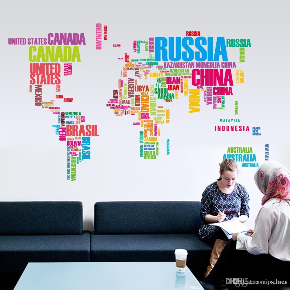24c940de0c Letter World Map Wall Stickers Decorative World Map Murals Home Office Art  Wall Sticker Decals DIY Removable Vinyl Wallpaper Wall Art Decals Trees Wall  Art ...