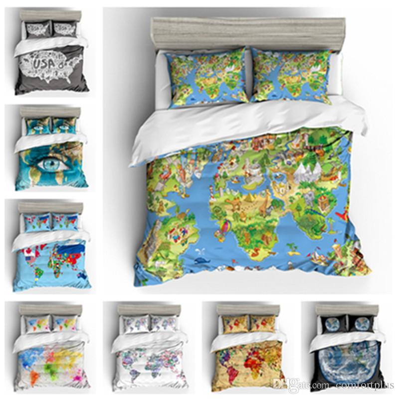 3D World Map Design Bedding Set /Duvet Cover Set Of Quilt Cover ...