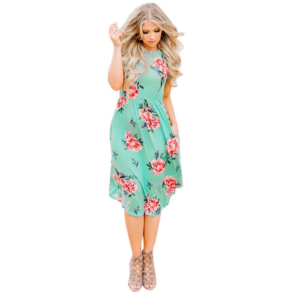 a110bf864ef79 Satın Al Kaliteli Moda Kadınlar Elbiseler Yaz 2019 Yeni Çiçek Baskılı Kısa  Gevşek Kollu Yuvarlak Boyun Rahat Plaj Praty Diz Boyu Elbise, $33.93 |  DHgate.