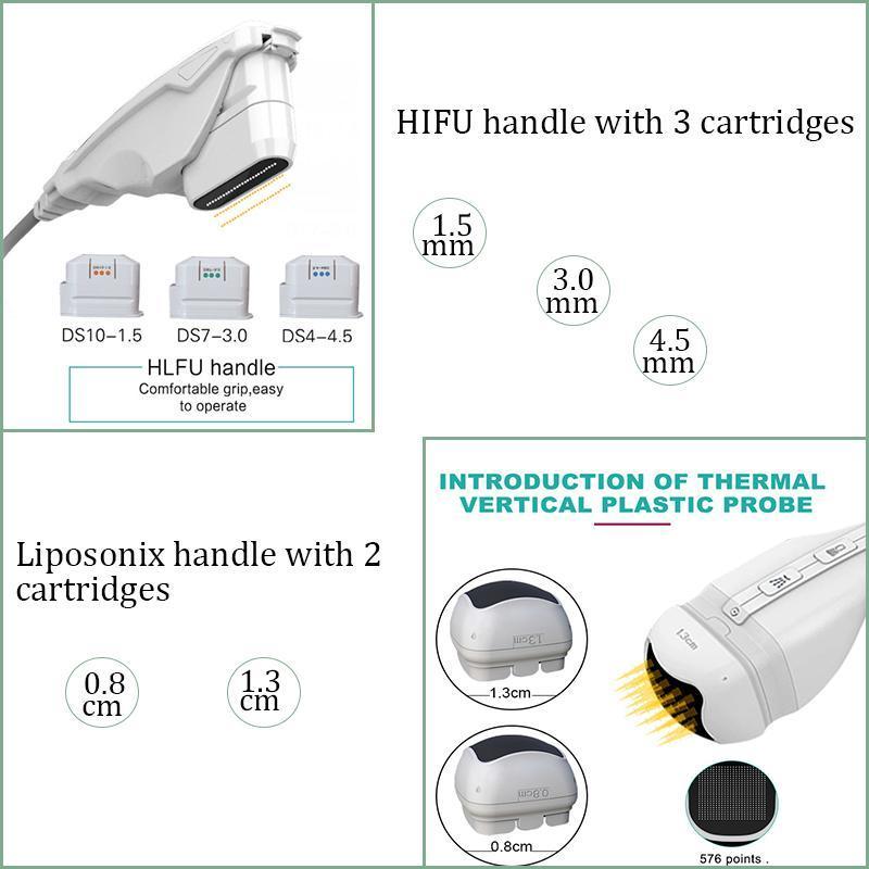 Máquina de estiramiento facial Liposunic Hifu face slimmer 2 en 1 hifu lifting facial liposonix machine spa use