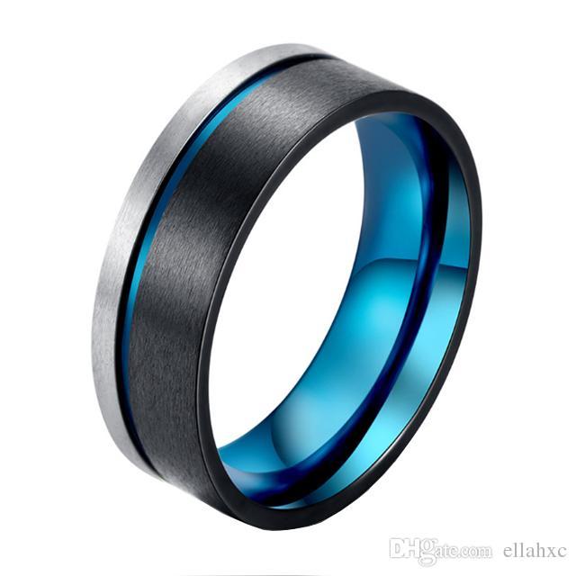 Custom Mens Wedding Bands.8mm Black Ring For Mens Wedding Band Blue Plated Custom Tungsten