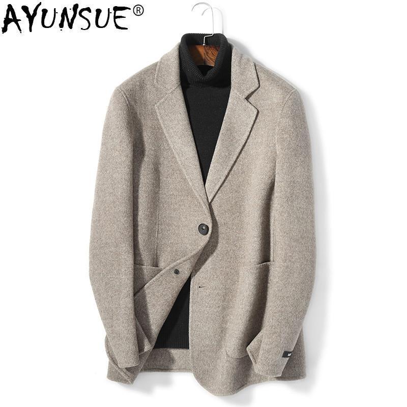 uk availability 9e096 5db43 AYUNSUE Kurzer Mantel aus 100% Wolle Herren Double Face Man Jacke Blazer  Kragen Herren Mäntel und Jacken Mantel Manteau Homme KJ1596