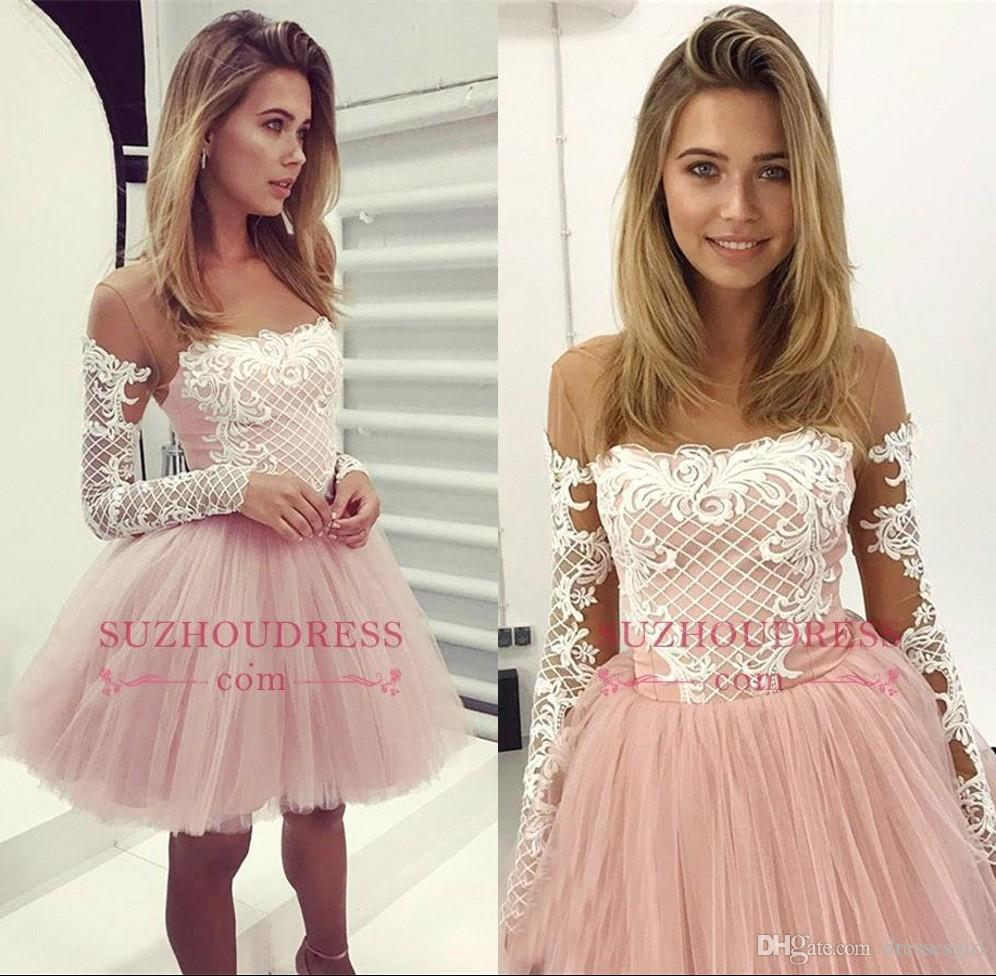 0408f3e0007b 2019 Puffy Baby Pink Cocktail Dresses Illusion Neck Long Sleeve Appliques  Homecoming Dress Tulle Mini Skirt Short Party Prom Dress BC1032 Cocktail  Dress ...