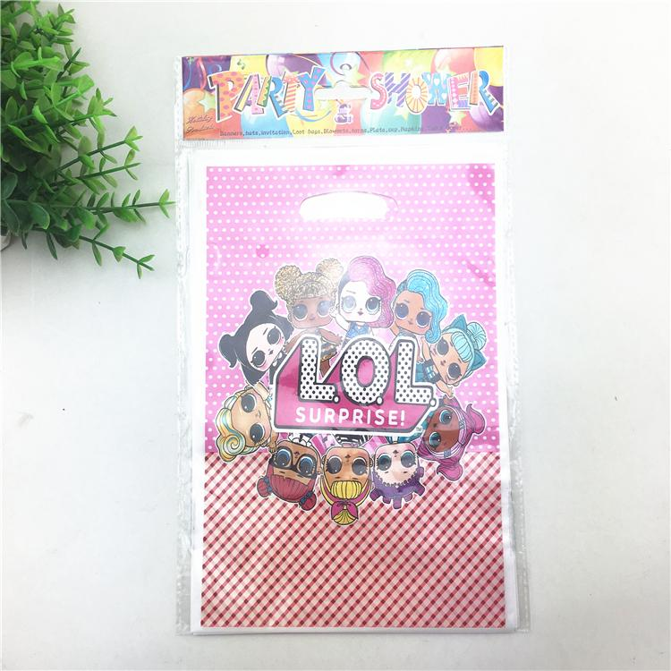Surprise Dolls Birthday Party Supplies Child Kids Decoration Return Gift Loot Bag Candy Box Cartoon Pattern Christmas Sacks Wrap From