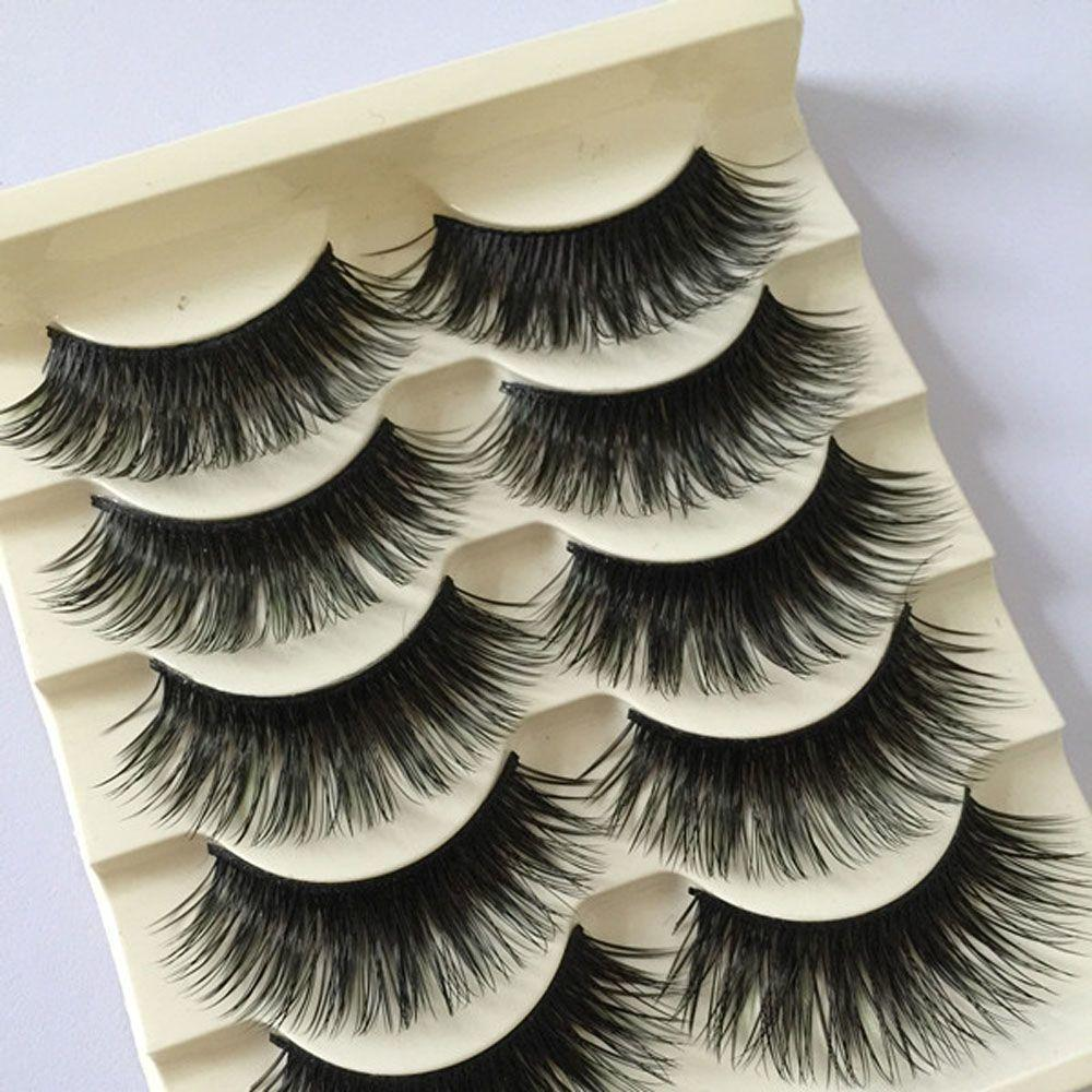 5 Pairs Fashion Natural Make Up Long Cross Fake Eye Lashes Handmade Thick Black False Eyelashes Extension Makeup Tool