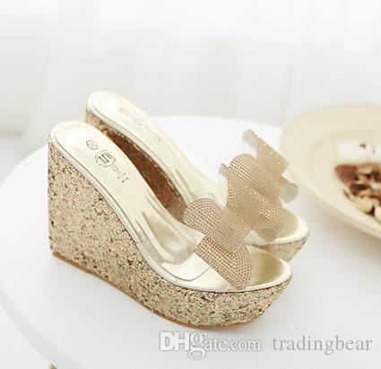 glitter white gold crystal rhinestone bowknot wedge shoes bridal wedding shoes size 34 to 40 tradingbear
