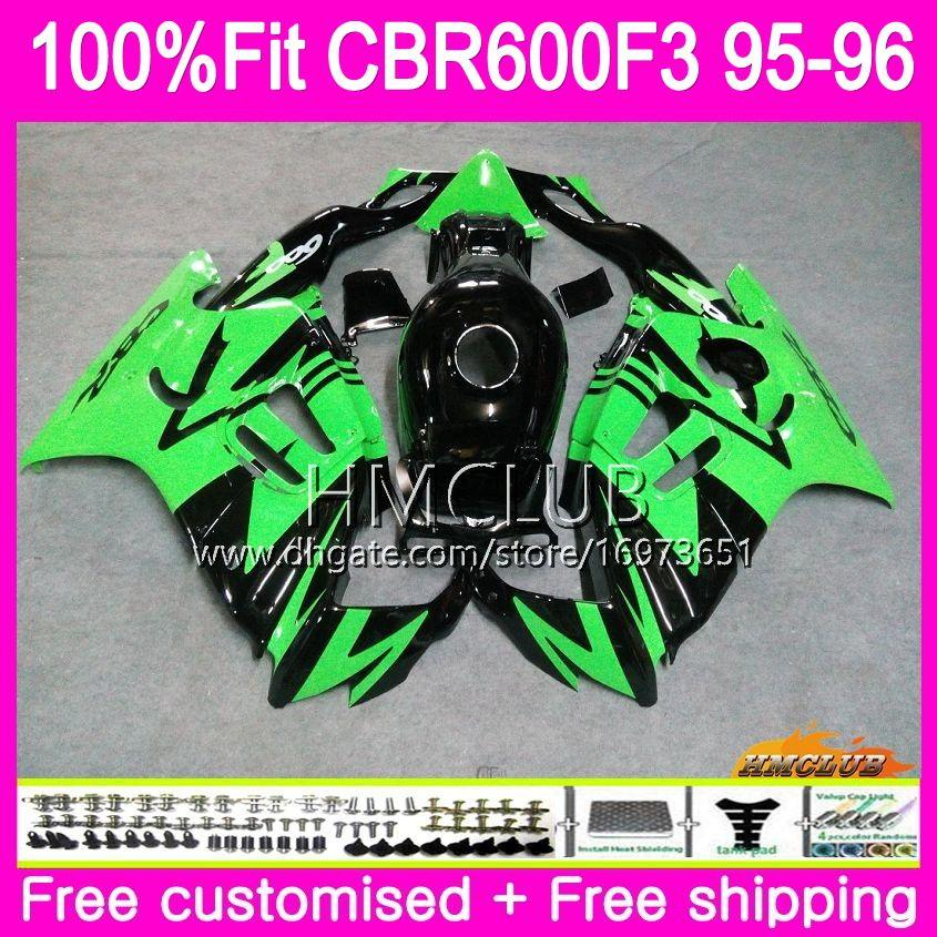 Injection For HONDA CBR 600F3 CBR600FS CBR 600 FS F3 1995 1996 77HM.39 100%Fit CBR600RR CBR600F3 CBR600 F3 95 96 Green Black OEM Fairings