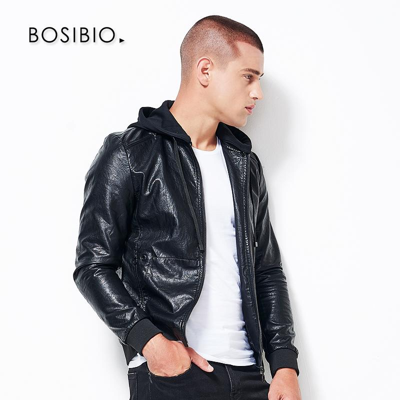 439d0a9280e BOSIBIO Mens Leather Jackets Fashion Spring Autumn Black PU Outerwear Men  Slim Fit Hooded Leather Jacket High Quality 71800