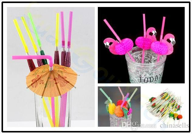d30dc8cc6b7e2 Cheap Disposable Cocktail Drinking Straws Wedding Hawaiian Umbrella Flamingo  Flower Shower Straw Decoration Beach Party Event Supplies
